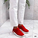 Тільки 36 р! Жіночі кросівки червоні зі стразами без шнурків текстиль, фото 4