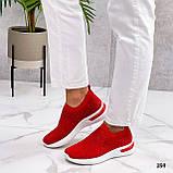 Тільки 36 р! Жіночі кросівки червоні зі стразами без шнурків текстиль, фото 2