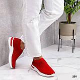 Тільки 36 р! Жіночі кросівки червоні зі стразами без шнурків текстиль, фото 5
