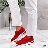 Тільки 36 р! Жіночі кросівки червоні зі стразами без шнурків текстиль, фото 6