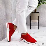 Тільки 36 р! Жіночі кросівки червоні зі стразами без шнурків текстиль, фото 7