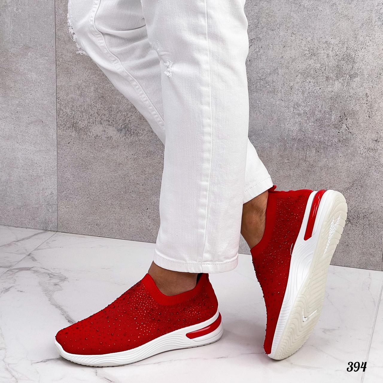 Тільки 36 р! Жіночі кросівки червоні зі стразами без шнурків текстиль