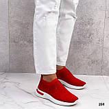 Тільки 36 р! Жіночі кросівки червоні зі стразами без шнурків текстиль, фото 8