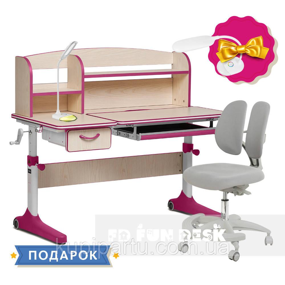 Растущий комплект для девочки парта Cubby Ammi Pink + кресло для дома FunDesk Primo Grey