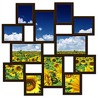Фоторамка на 12 фото, коричневая., фото 1