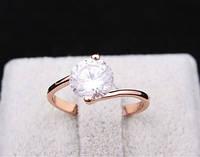 Кольцо имитация бриллианта зигзаг золотистое