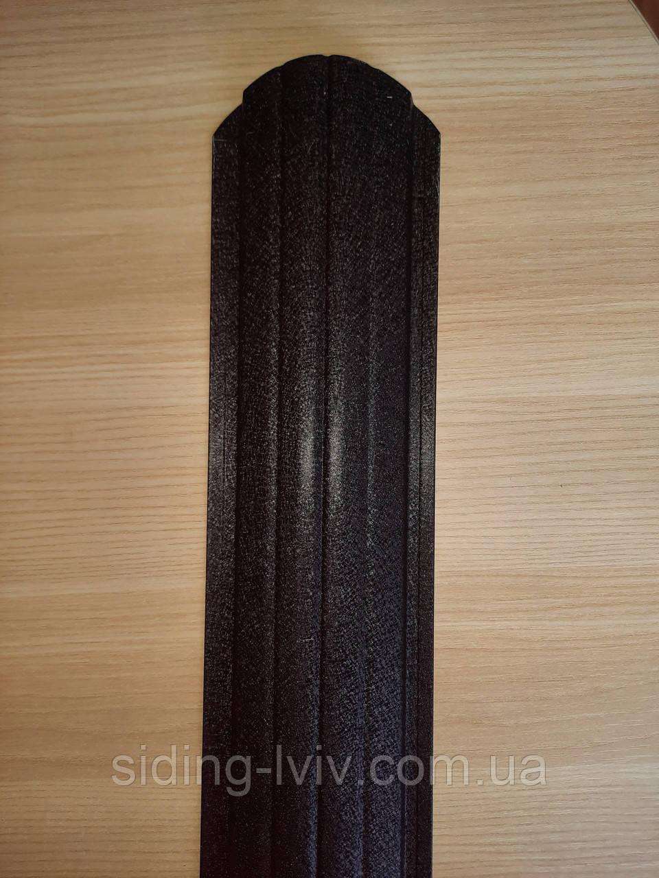 Євроштахети 105 мм матовий сірий, графіт Ral 7024 мат, Ral 9005 мат (штахетник металевий)