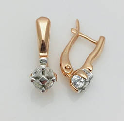 Жіночі сережки з камінням, Алмаз 20 * 7 * мм, позолота + родій, ювелірна біжутерія Fallon