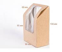 Подарочная крафт-коробка упаковка с прозрачной крышкой 9x6x13 см