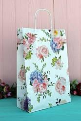 """Бумажный подарочный крафт пакет """"Цветы в букетах"""" 24*37*10см 10шт/уп (100шт/ящ)"""