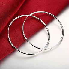 Женские серьги-кольца большие покрытие серебро, фото 3