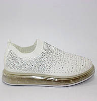 Літні жіночі кросівки з неонової сітки білого кольору в стразах
