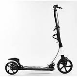 Самокат двухколесный (дисковый тормоз, колеса PU) Best Scooter 56196 Черно-белый, фото 4
