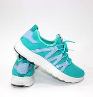 Літні жіночі кросівки трикотажні бірюзові