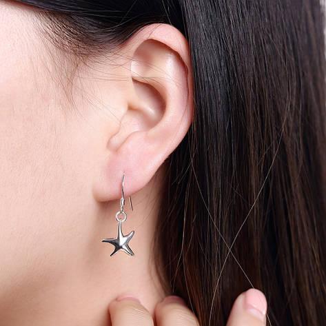 Сережки жіночі Морські зірки покриття срібло, фото 2