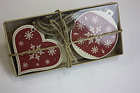 """Деревянные ёлочные игрушки из фанеры """"Волшебный подарок"""", 6 шт. в наборе, фото 1"""