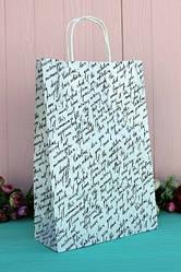 """Бумажный подарочный крафт пакет с принтом """"Письмо"""" 24*37*10см 10шт/уп (100шт/ящ)"""