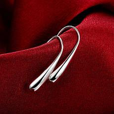 """Сережки жіночі покриття срібло 925 """"Краплі X"""", фото 3"""
