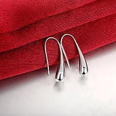 """Сережки жіночі покриття срібло 925 """"Краплі X"""", фото 2"""