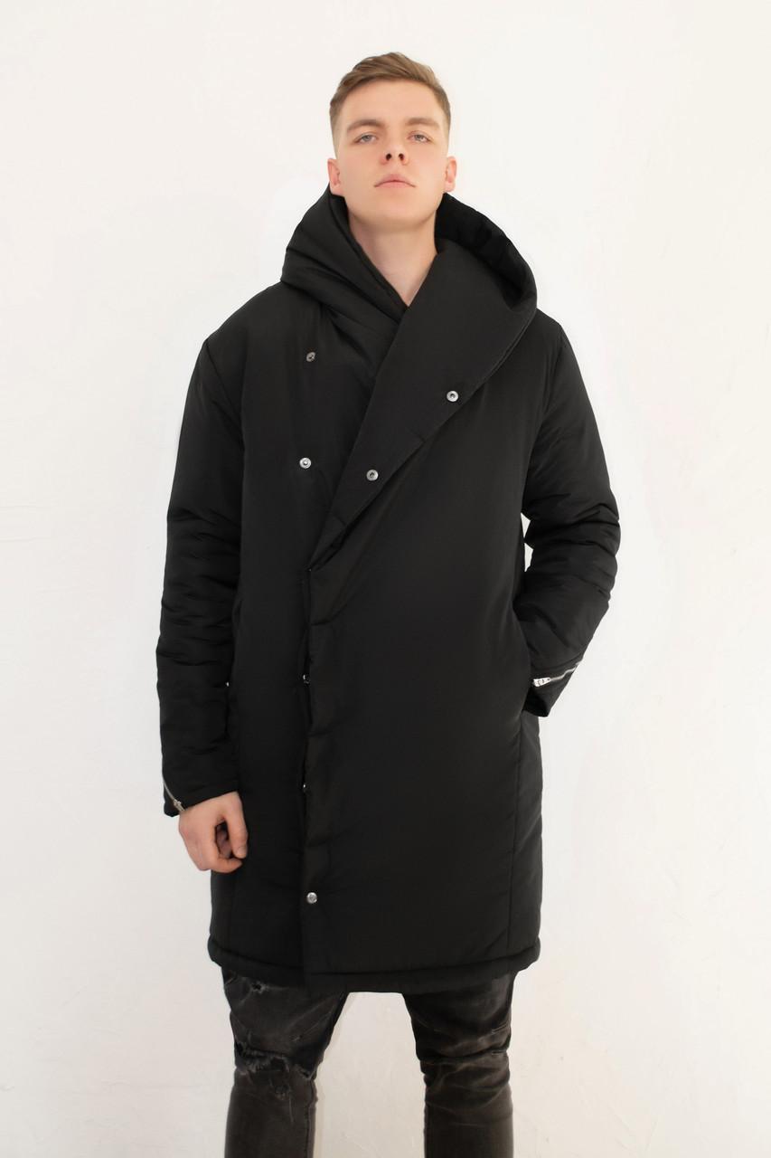 Чоловіча чорна зимова куртка парку з капюшоном