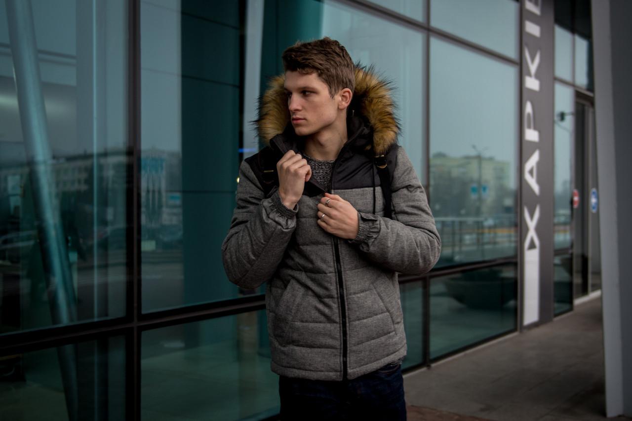 Мужская серая зимняя куртка с капюшоном Аляска
