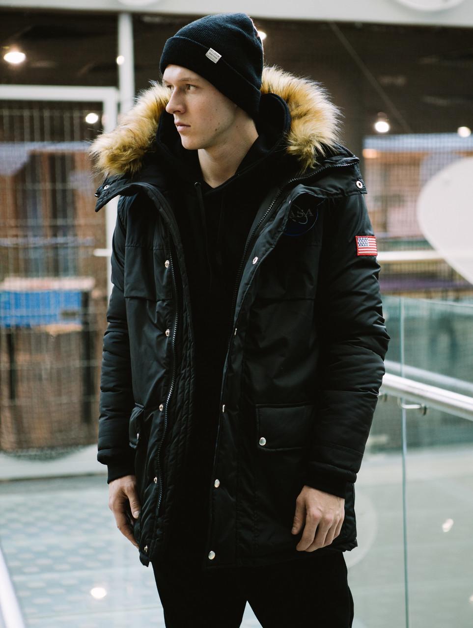 Мужская зимняя черная куртка парка NASA