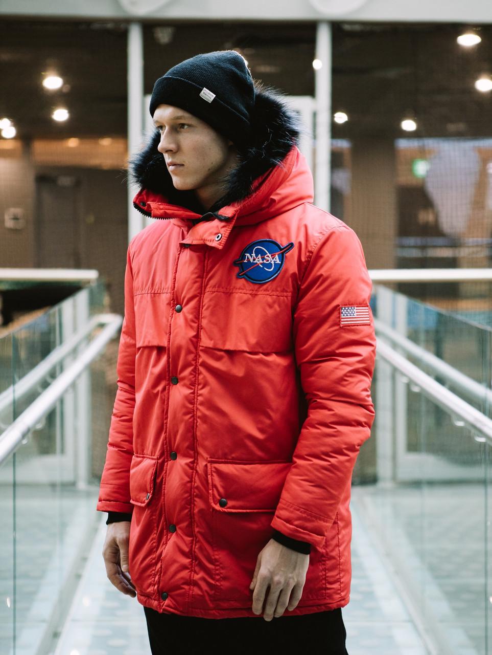 Мужская зимняя красная куртка парка NASA