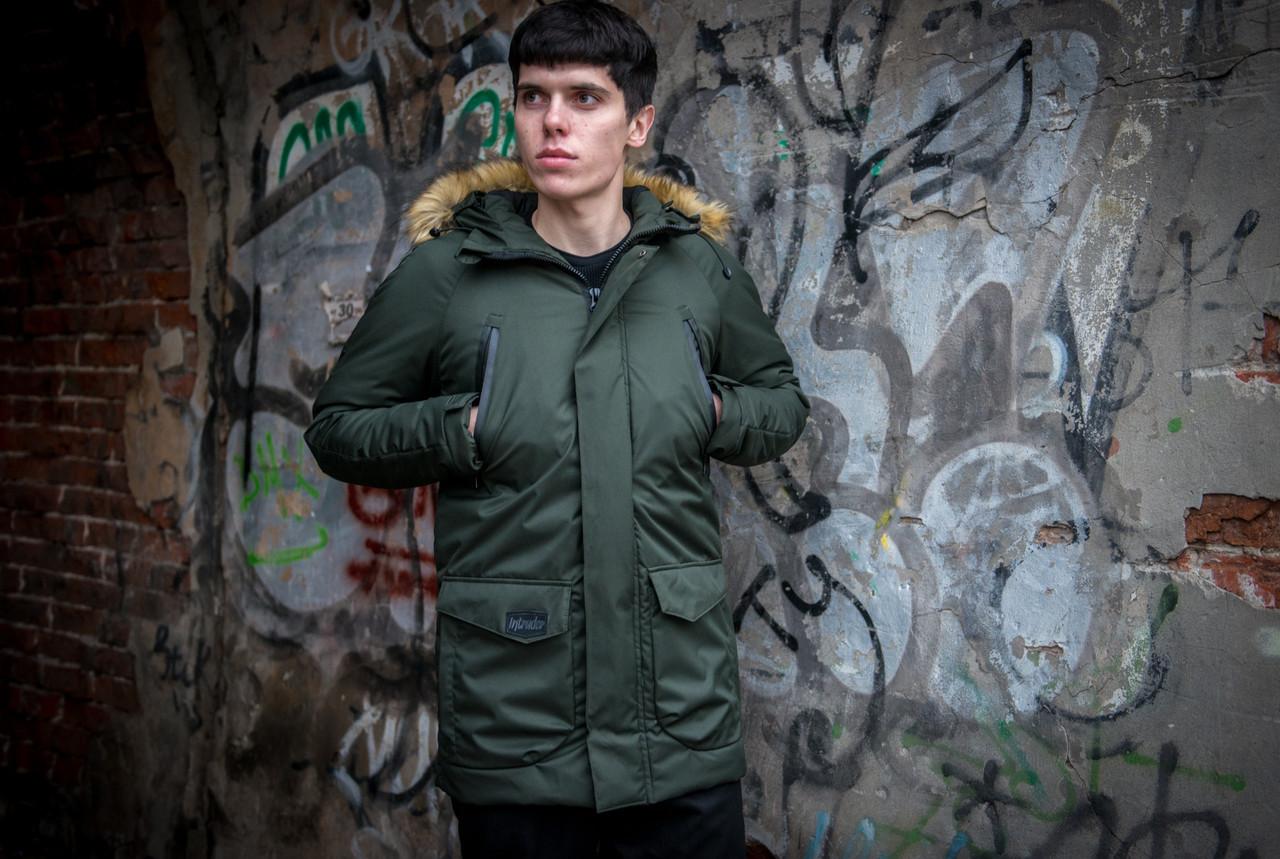 Чоловіча зимова куртка парку з капюшоном