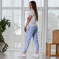 Женские спортивные штаны с лампасами на резинке Asos, турецкие стильные брюки, цвет голубой
