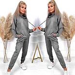 Замшевый спортивный костюм с свободным худи и джогер на резинке и манжетах оверсайз (р. 40 - 58) 52051197, фото 2