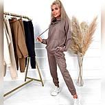 Замшевый спортивный костюм с свободным худи и джогер на резинке и манжетах оверсайз (р. 40 - 58) 52051197, фото 3