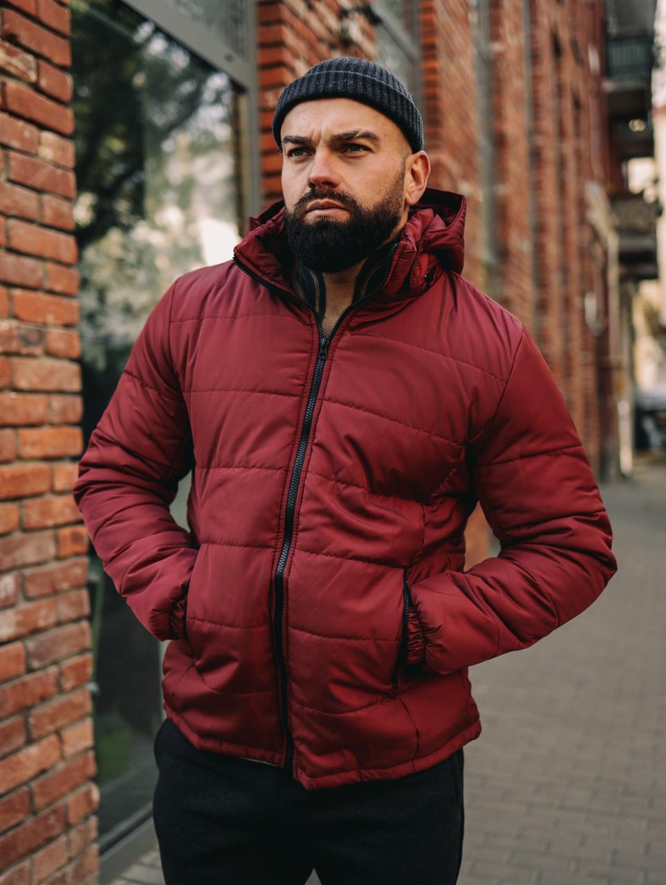 Чоловіча бордова коротка зимова куртка