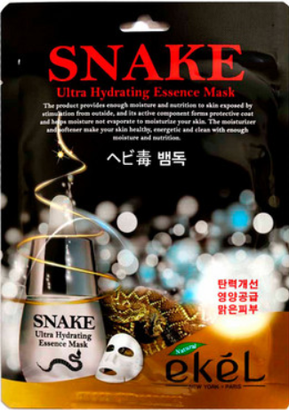 Тканинна маска ефект ботокса Ekel Snake Ultra Hydrating Essence Mask, Екель
