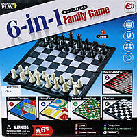 Шахматы, шашки, нарды, домино и крестики-нолики. Набор семейных настольных игр 6 в 1 на магнитах