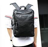 Большой мужской рюкзак для ноутбука из экокожи, фото 6