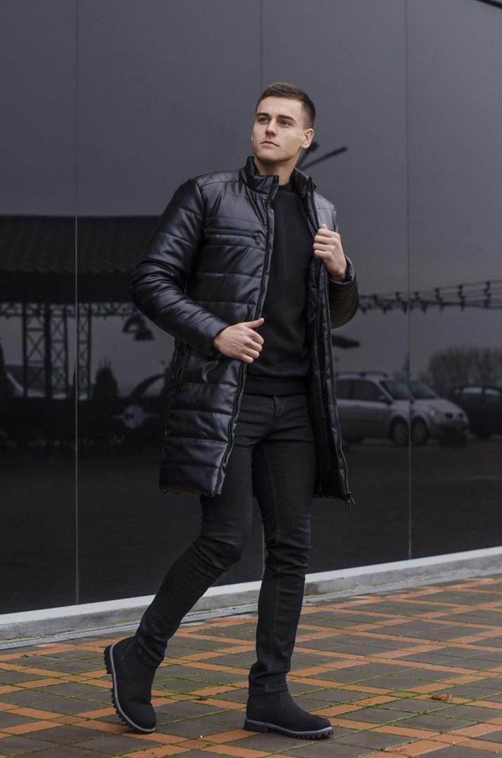 Чоловіча чорна подовжена класична куртка пальто