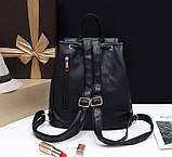 Жіночий міні рюкзак чорний, фото 4