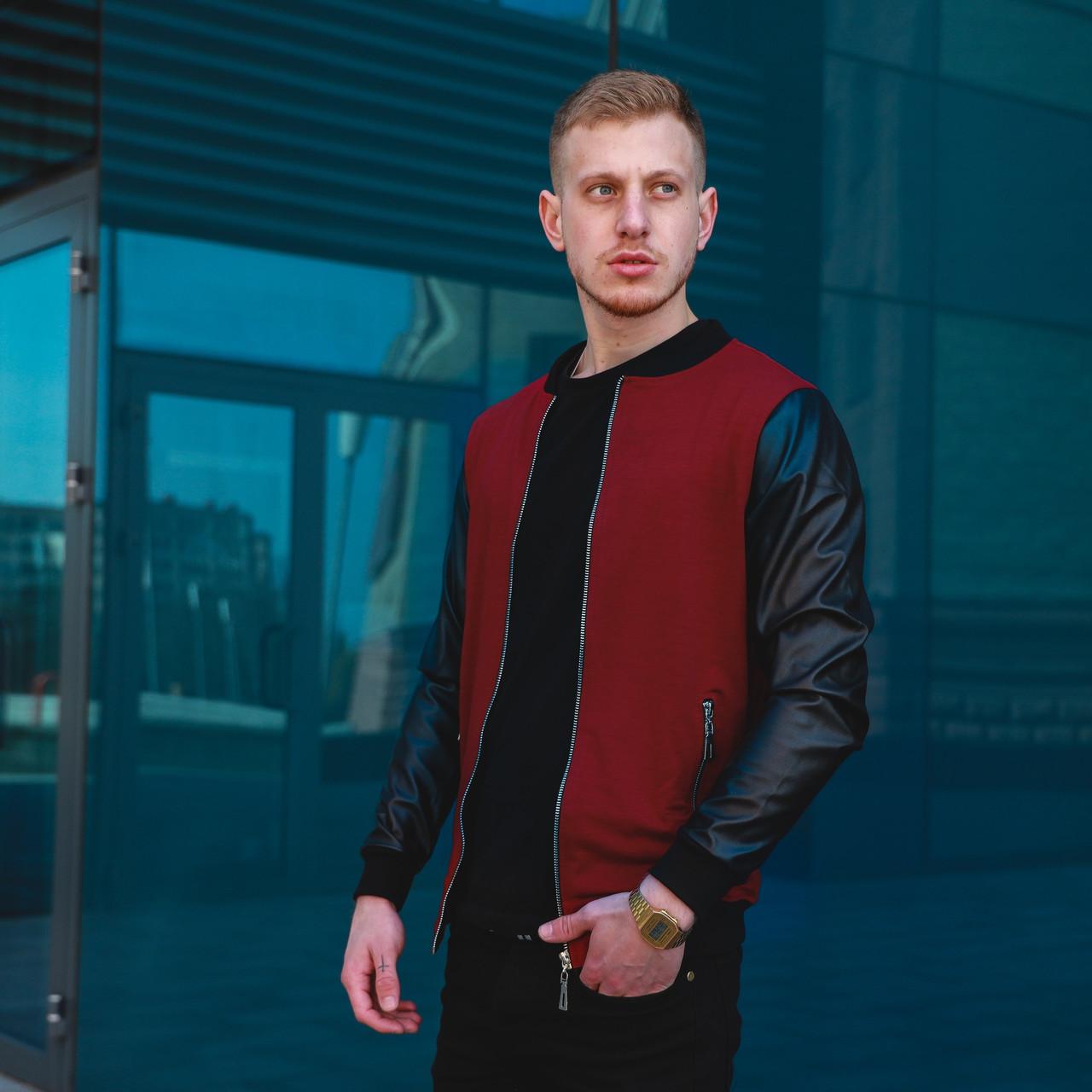Чоловічий бордовий бомбер куртка c шкіряними рукавами