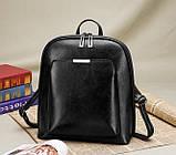Стильний жіночий рюкзак міський сумка 2 в 1. Якісний рюкзачок сумочка чорний коричневий, фото 2