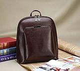 Стильний жіночий рюкзак міський сумка 2 в 1. Якісний рюкзачок сумочка чорний коричневий, фото 3