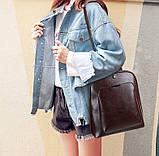 Стильний жіночий рюкзак міський сумка 2 в 1. Якісний рюкзачок сумочка чорний коричневий, фото 4
