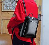 Стильний жіночий рюкзак міський сумка 2 в 1. Якісний рюкзачок сумочка чорний коричневий, фото 5