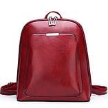 Стильний жіночий рюкзак міський сумка 2 в 1. Якісний рюкзачок сумочка чорний коричневий, фото 6
