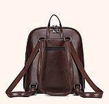 Стильний жіночий рюкзак міський сумка 2 в 1. Якісний рюкзачок сумочка чорний коричневий, фото 8