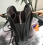 Стильний жіночий рюкзак міський сумка 2 в 1. Якісний рюкзачок сумочка чорний коричневий, фото 9