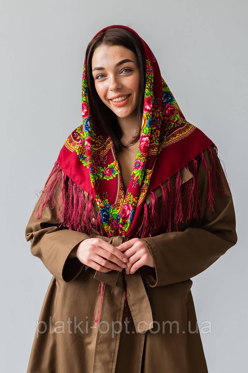 Платок шерстяной с бахромой (Турция) бордовый