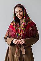 Платок шерстяной с бахромой (Турция) бордовый, фото 1
