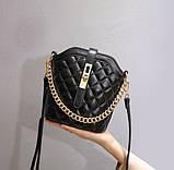 Маленькая сумка для девушки эко кожа, модная и стильная женская мини сумочка клатч стеганная, фото 2