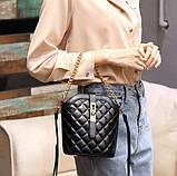 Маленькая сумка для девушки эко кожа, модная и стильная женская мини сумочка клатч стеганная, фото 3