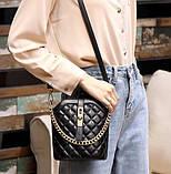 Маленькая сумка для девушки эко кожа, модная и стильная женская мини сумочка клатч стеганная, фото 5